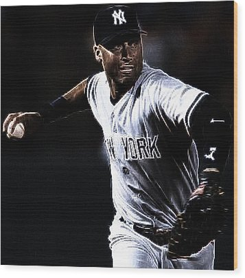 Derek Jeter Wood Print by Paul Ward