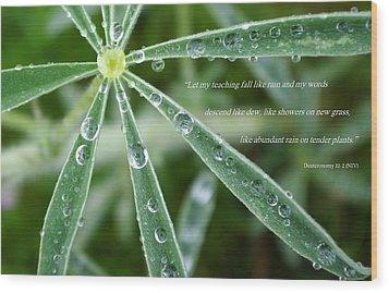 Descending Words Like Dew Wood Print