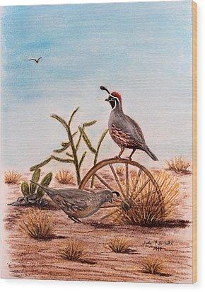 Desert Art Gambels Quail Wood Print by Judy Filarecki