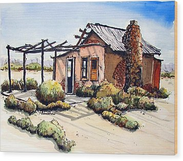 Desert Cabin Wood Print by Terry Banderas