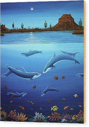 Desert Dolphins Close  Wood Print by Lance Headlee