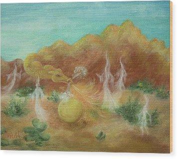Desert Dragon Wood Print by Bernadette Wulf