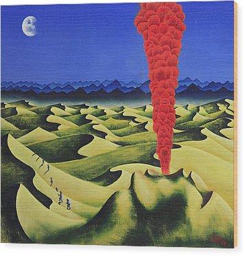 Desert Fire Wood Print by Poul Costinsky