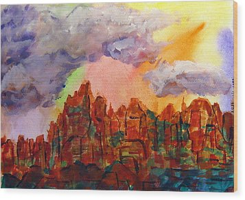Wood Print featuring the painting Desert Fortress by Arlene Holtz