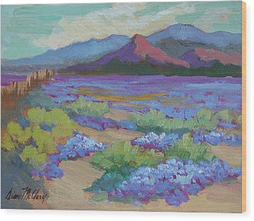 Wood Print featuring the painting Desert In Bloom by Diane McClary