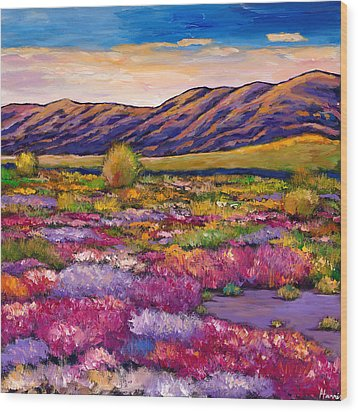 Desert In Bloom Wood Print by Johnathan Harris