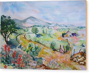 Desert In Bloom Wood Print by Sharon Mick
