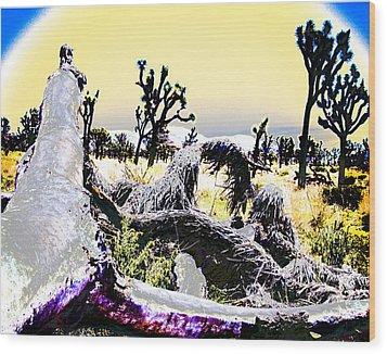 Desert Landscape - Joshua Tree National Monment Wood Print by Ann Tracy