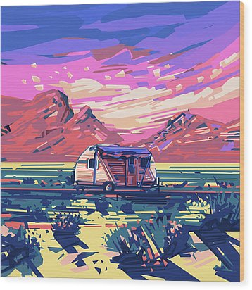 Desert Landscape Wood Print by Bekim Art