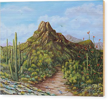 Wood Print featuring the painting Desert Landscape Gambel's Quail by Judy Filarecki