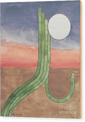 Wood Print featuring the painting Desert Moon by LeAnne Sowa