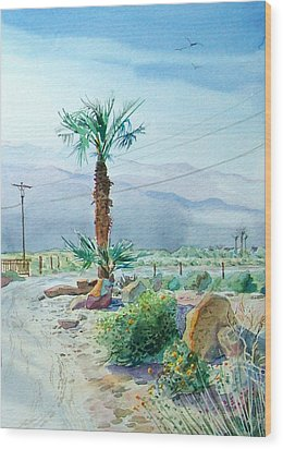 Wood Print featuring the painting Desert Palm by John Norman Stewart