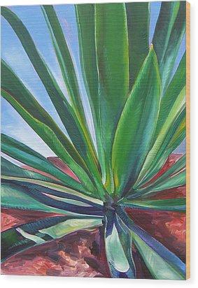 Desert Plant Wood Print by Karen Doyle