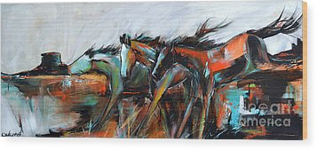 Wood Print featuring the painting Desert Racers by Cher Devereaux