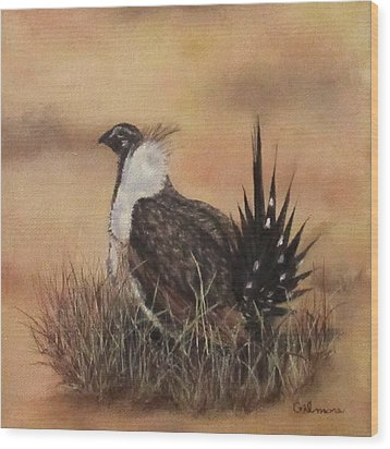 Desert Sage Grouse Wood Print by Roseann Gilmore