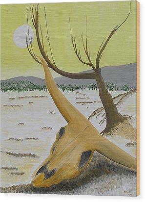 Desert Skull Wood Print by M Valeriano
