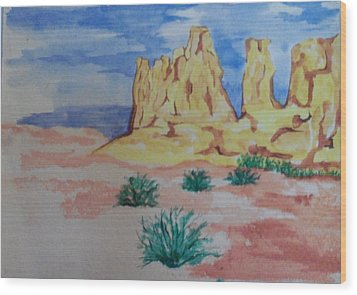 Wood Print featuring the painting Desert Sky by Erika Chamberlin