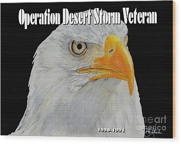 Desert Storm Eagle Wood Print by Bill Richards