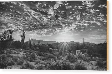 Desert Sunrise Wood Print by Monte Stevens