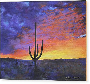 Desert Sunset 4 Wood Print