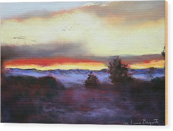 Wood Print featuring the painting Desert Sunset I by M Diane Bonaparte