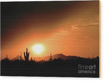 Desert Sunset Wood Print