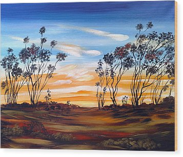 Wood Print featuring the painting Desert Sunset by Roberto Gagliardi