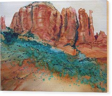 Desert Towers Wood Print by Karen Stark