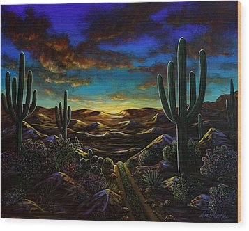 Wood Print featuring the painting Desert Trail by Lance Headlee