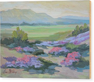 Wood Print featuring the painting Desert Verbena 1 by Diane McClary