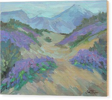 Wood Print featuring the painting Desert Verbena by Diane McClary
