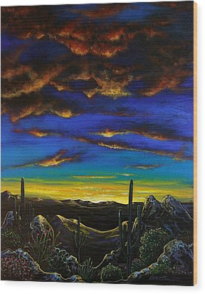 Wood Print featuring the painting Desert View by Lance Headlee