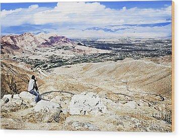 Desert Viewer  Wood Print