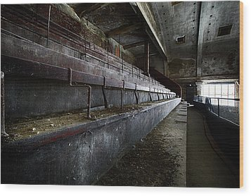 Wood Print featuring the photograph Deserted Theatre Steps - Urban Exploration by Dirk Ercken