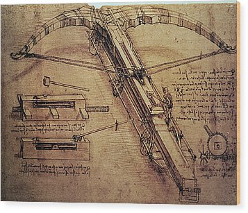 Design For A Giant Crossbow Wood Print by Leonardo Da Vinci