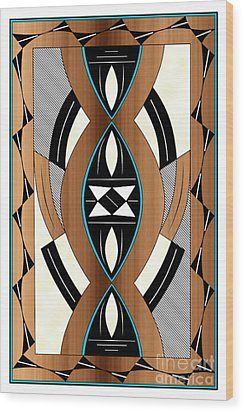 Southwest Collection - Design Two In Blue Wood Print