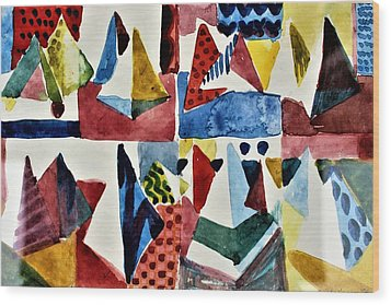 Wood Print featuring the painting Designs For Pyramids by Mindy Newman