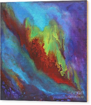 Desire A Vibrant Colorful Abstract Painting With A Glittering Center  Wood Print