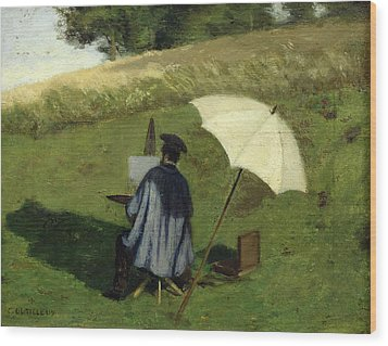 Desire Dubois Painting In The Open Air Wood Print by Henri Joseph Constant Dutilleux