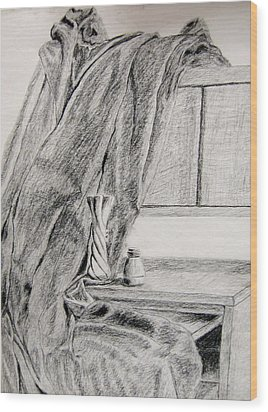 Desk And Curtain Wood Print by Diana Prout