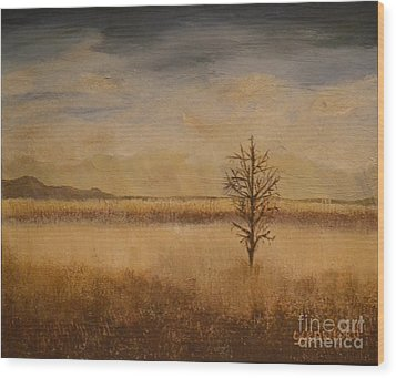 Wood Print featuring the painting Desolation by Lori Jacobus-Crawford