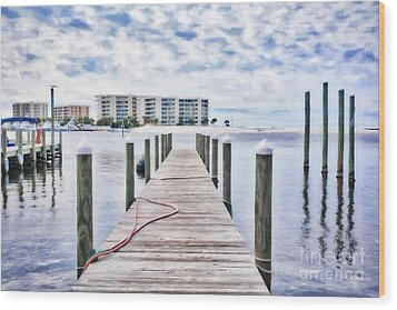 Destin Harbor Marina # 2 Wood Print by Mel Steinhauer