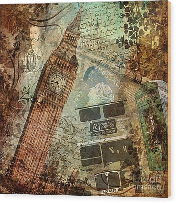 Destination London Wood Print by Mindy Sommers