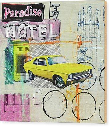 Wood Print featuring the mixed media Destination Paradise by Elena Nosyreva