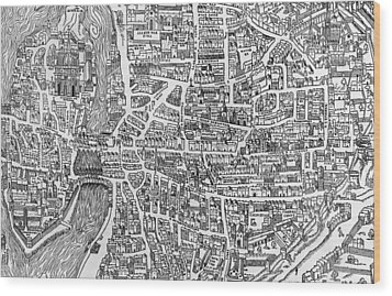 Detail From A Map Of Paris In The Reign Of Henri II Showing The Quartier Des Ecoles Wood Print by French School