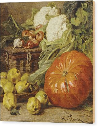 Detail Of A Still Life With A Basket, Pears, Onions, Cauliflowers, Cabbages, Garlic And A Pumpkin Wood Print by Eugene Claude