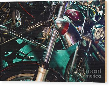 Detail Of Chrome Headlamp On Vintage Style Motorcycle Wood Print by Jason Rosette