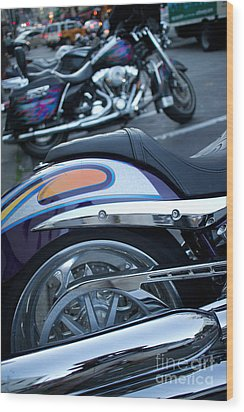 Detail Of Shiny Chrome Tailpipe And Rear Wheel Of Cruiser Style  Wood Print by Jason Rosette