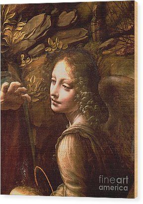 Detail Of The Angel From The Virgin Of The Rocks  Wood Print by Leonardo Da Vinci