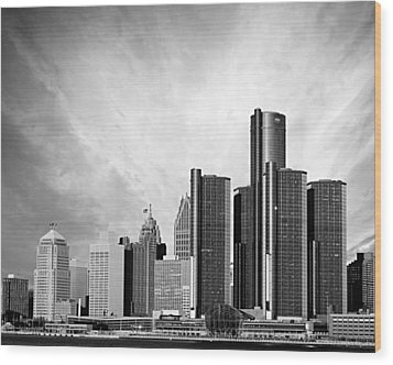 Detroit Black And White Skyline Wood Print by Alanna Pfeffer